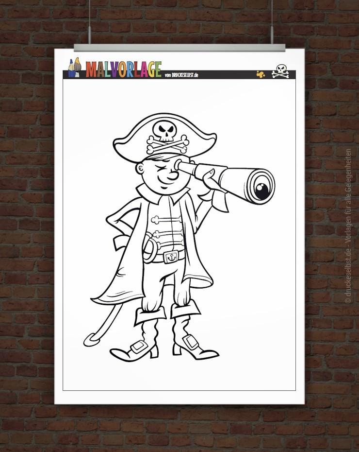 Drucke Selbst Gratis Malvorlage Kleiner Pirat
