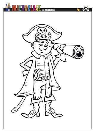 Drucke selbst! Gratis Malvorlage kleiner Pirat