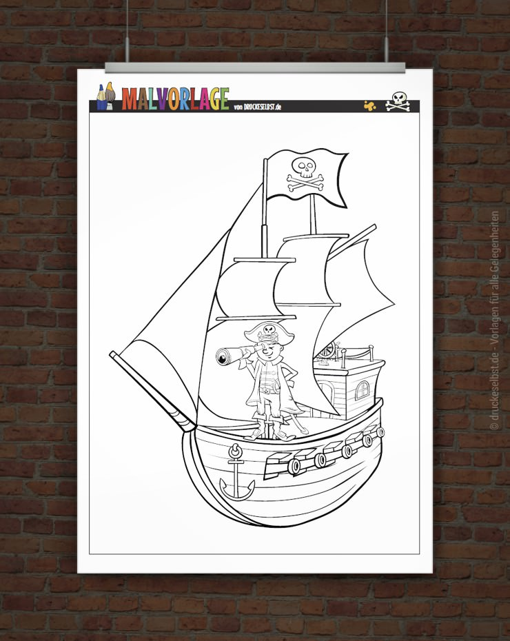 drucke selbst piratenschiff zum ausmalen