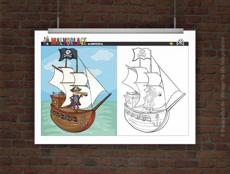 drucke selbst gratis malvorlage  ausmalbild priatenschiff
