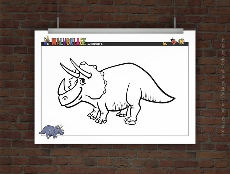 drucke selbst gratis ausmalvorlage dinosaurier triceratops