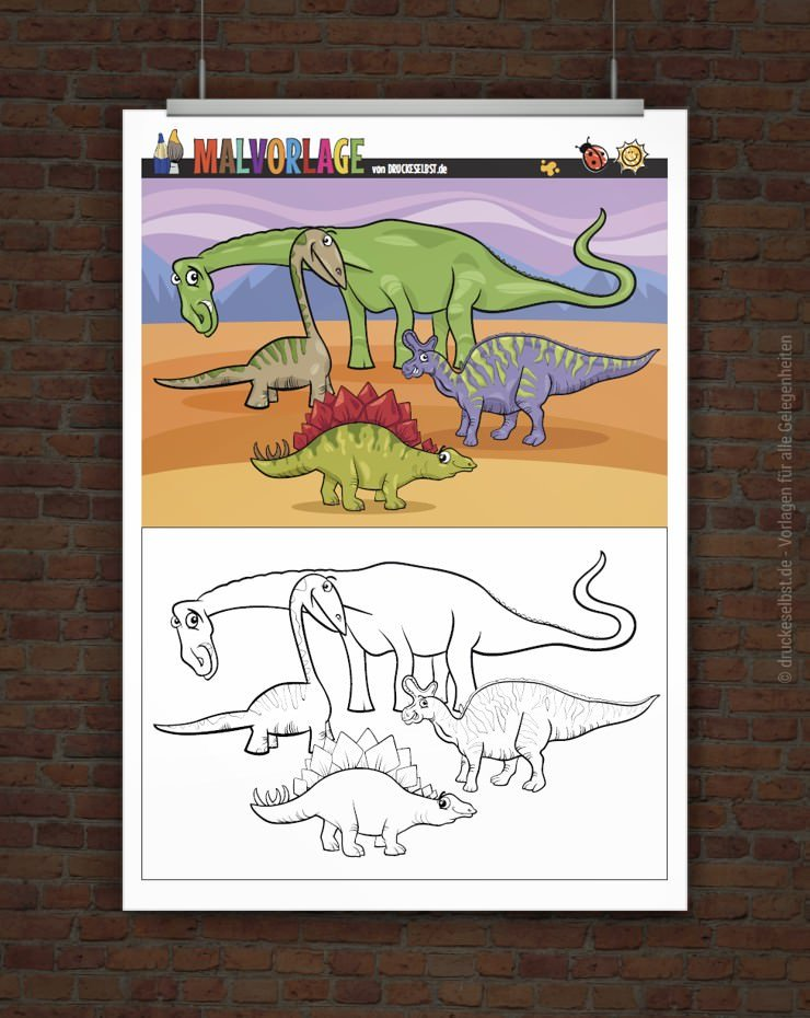 drucke selbst gratis malvorlage  ausmalbild dinos