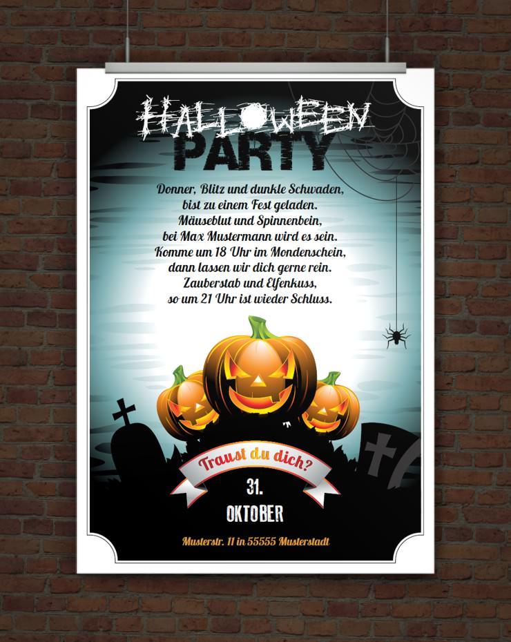 drucke selbst! einladung zur halloweenparty zum ausdrucken, Einladungsentwurf