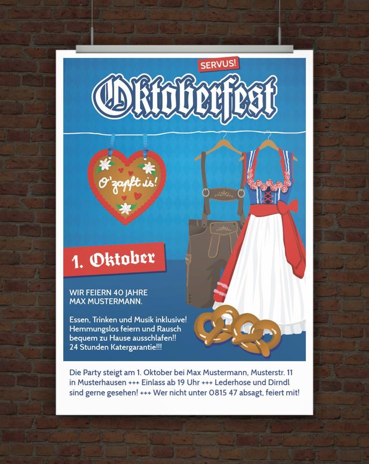 Drucke selbst! Vorlage Einladung Oktoberfest