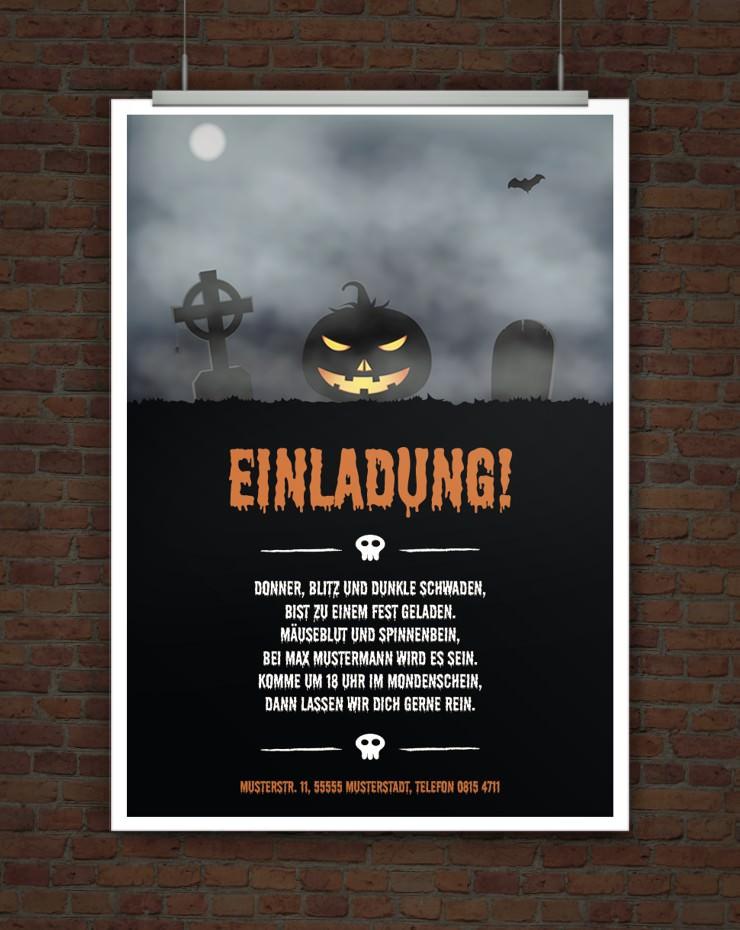 drucke selbst! halloweeneinladung mit originellem einladungstext, Einladung