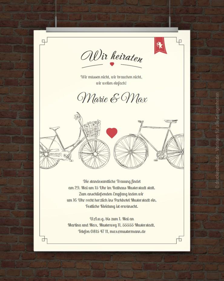 Drucke selbst! Hochzeitseinladung zum Ausdrucken