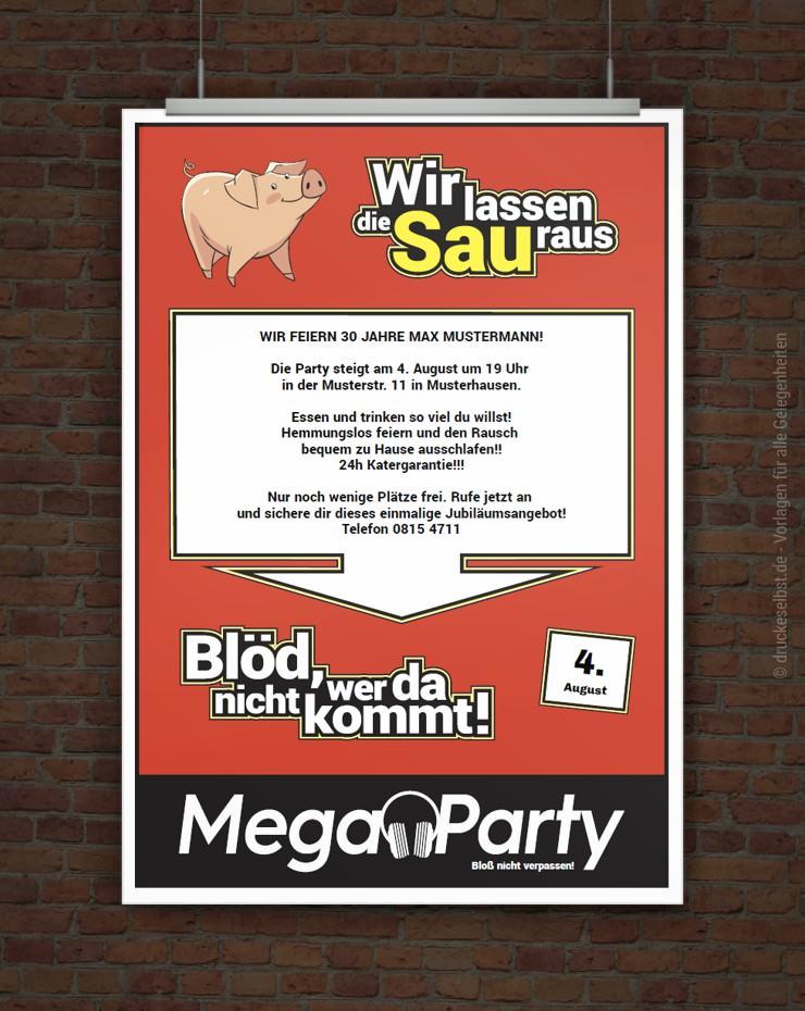 Drucke Selbst Witzige Partyeinladung Im Stil Eines Werbeflyers