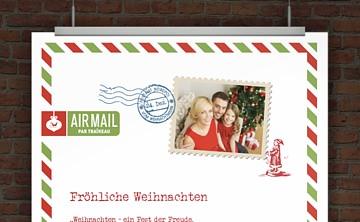 Drucke selbst kostenloser weihnachtsbrief airmail - Weihnachtskarten kostenlos gestalten und drucken ...