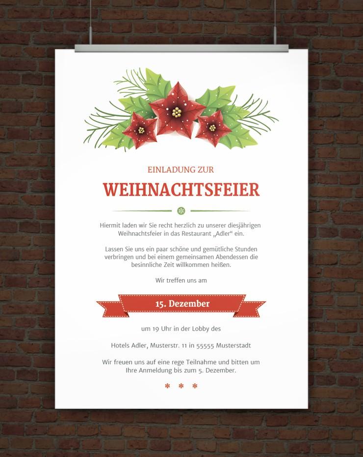 Drucke selbst! Vorlage Weihnachtsfeiereinladung