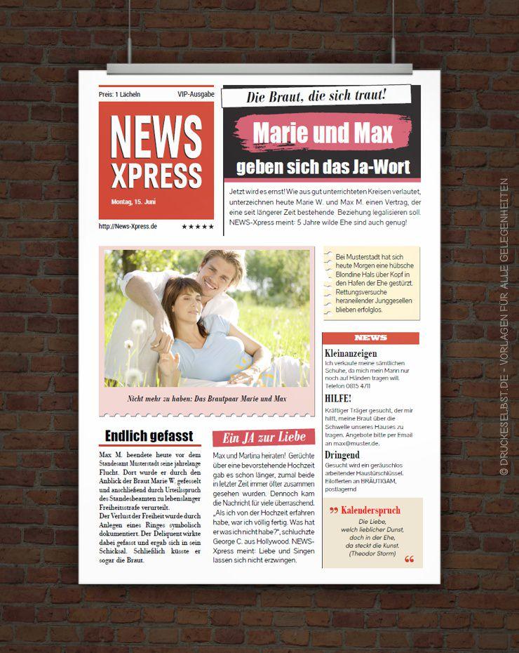 Drucke selbst! Vorlage Hochzeitszeitung im Zeitungsstil