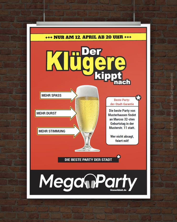 drucke selbst! witzige partyeinladung der klügere kippt nach, Einladung
