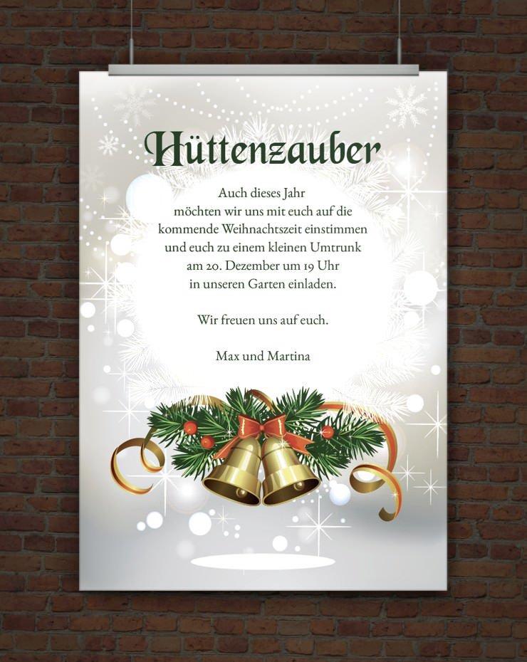 Drucke selbst! Vorlage Weihnachtseinladung Hüttenzauber