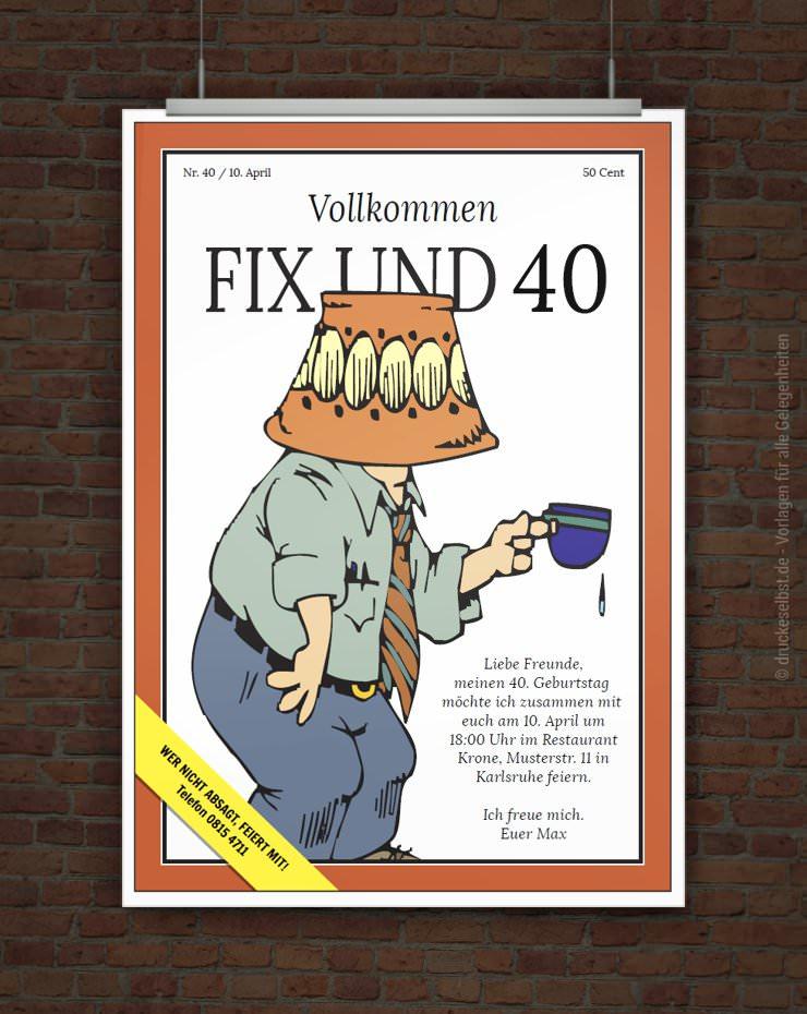fix und 40 - einladung zum 40. geburtstag, Einladung