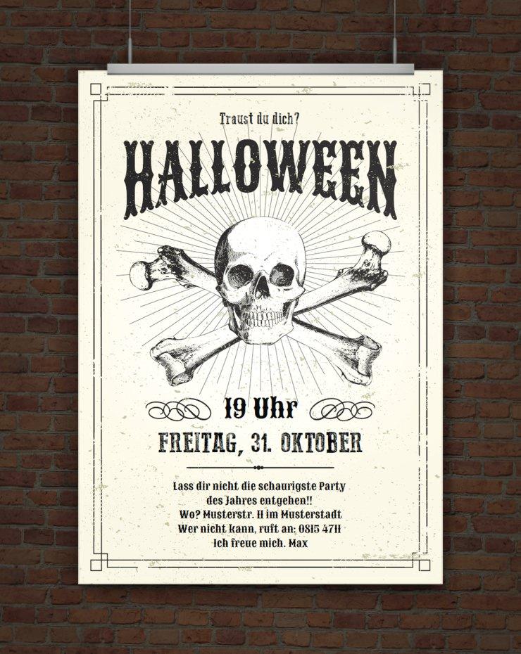drucke selbst gruselige halloweeneinladung mit totenkopf zum ausdrucken. Black Bedroom Furniture Sets. Home Design Ideas