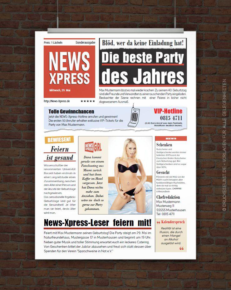 Drucke selbst! Lustige Geburtstagseinladung im Zeitungsstil